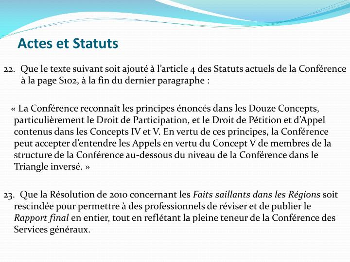 Actes et Statuts