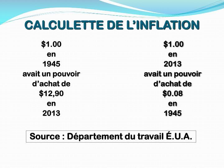 CALCULETTE DE L'INFLATION