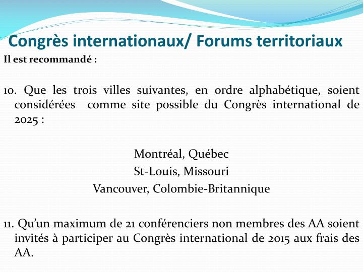 Congrès internationaux/ Forums territoriaux