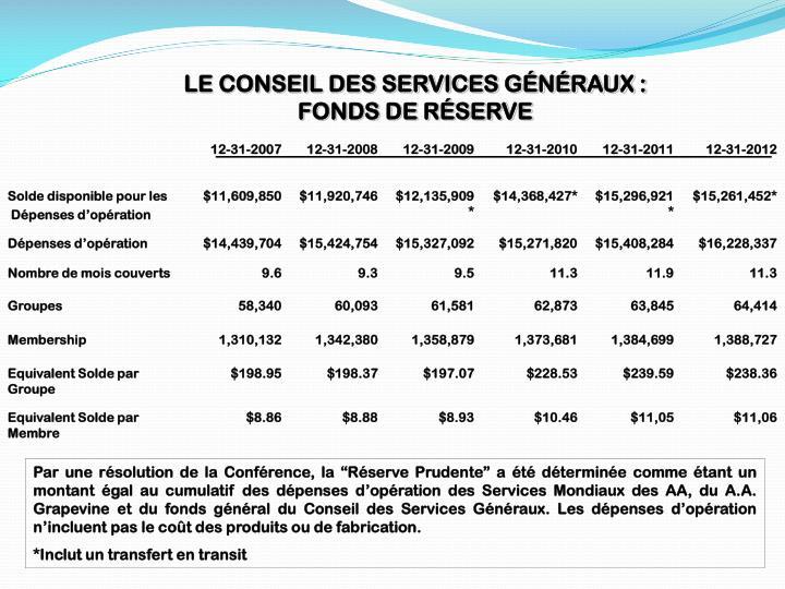 LE CONSEIL DES SERVICES GÉNÉRAUX :