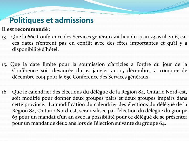 Politiques et admissions