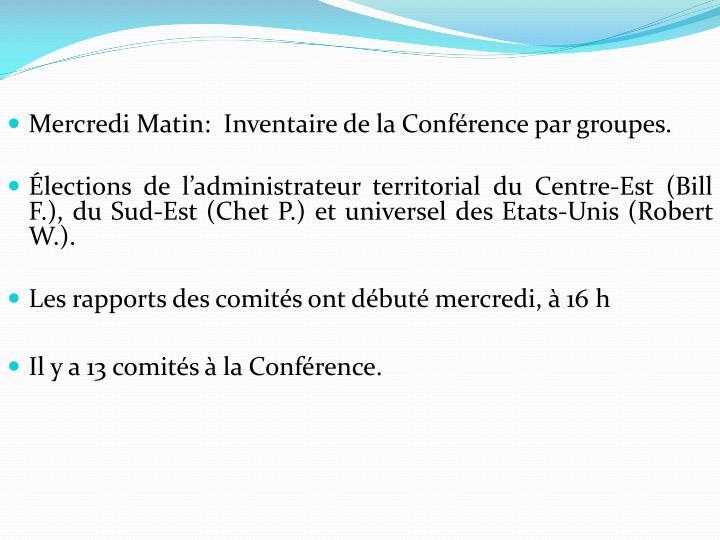 Mercredi Matin:  Inventaire de la Conférence par groupes.