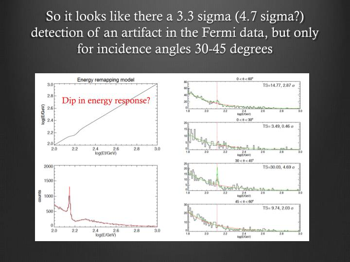 So it looks like there a 3.3 sigma (4.7 sigma?) detection of