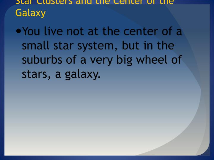 Star Clusters and the Center of the Galaxy