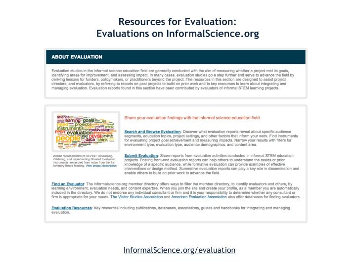 Resources for Evaluation: