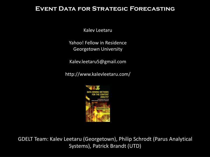 Event Data for Strategic Forecasting