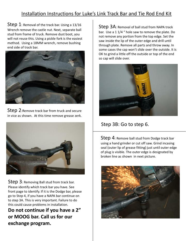 Installation Instructions for Luke's Link Track Bar and Tie Rod End Kit