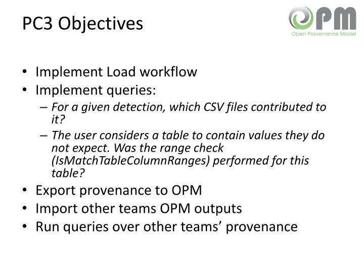 PC3 Objectives