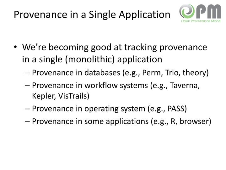 Provenance in a Single Application
