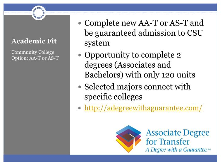 Complete new AA-T or AS-T and be guaranteed admission to CSU system