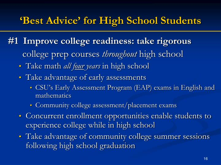high school and best advice