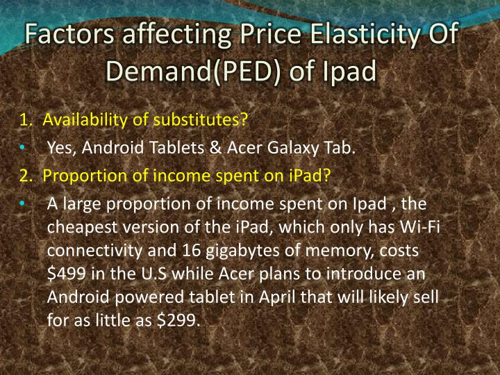 Factors affecting Price Elasticity Of Demand(PED) of Ipad