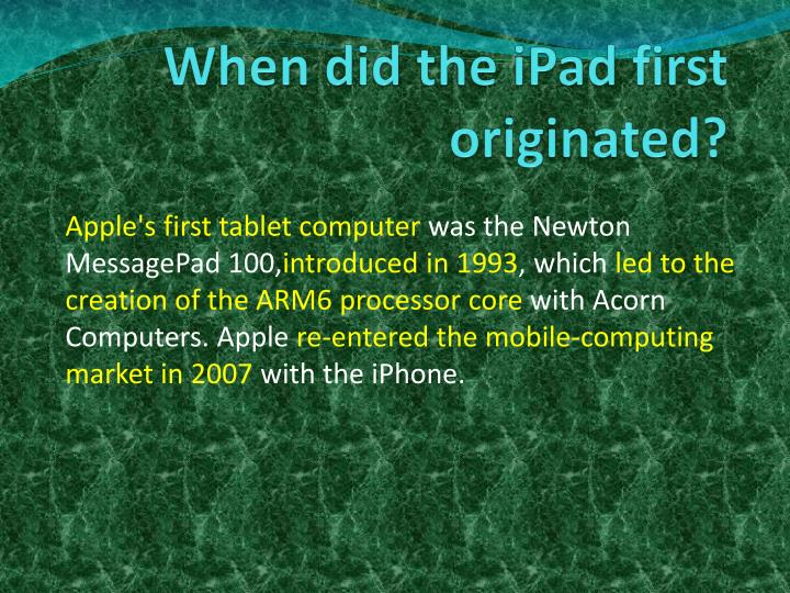When did the ipad first originated