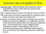 common law as it applies to torts