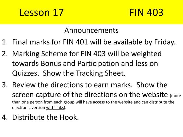 Lesson 17FIN 403