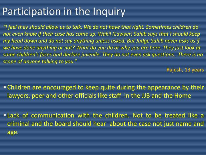 Participation in the Inquiry