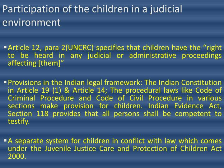 Participation of the children in a judicial