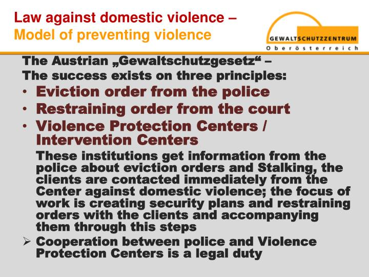 Law against domestic violence –