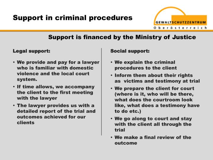 Support in criminal procedures