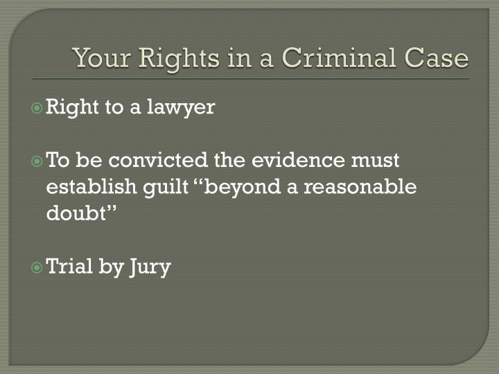 Your Rights in a Criminal Case