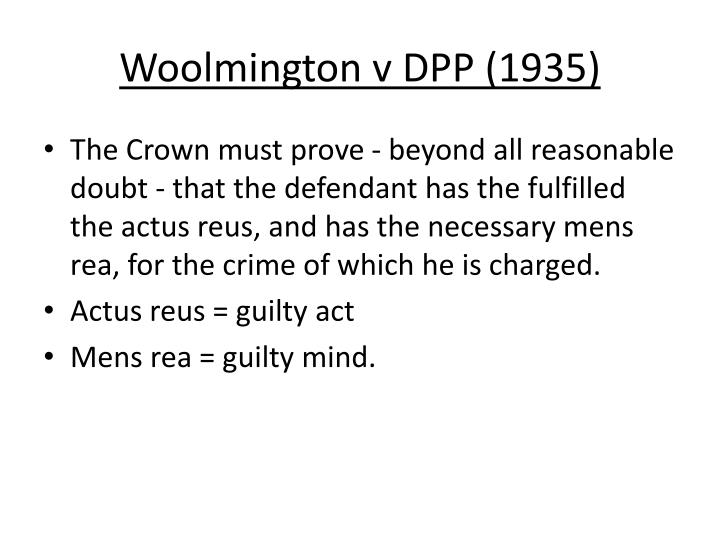 Woolmington v dpp 1935