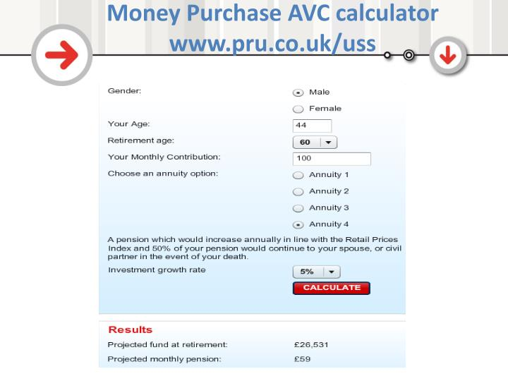 Money Purchase AVC calculator