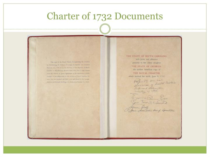 Charter of 1732 Documents