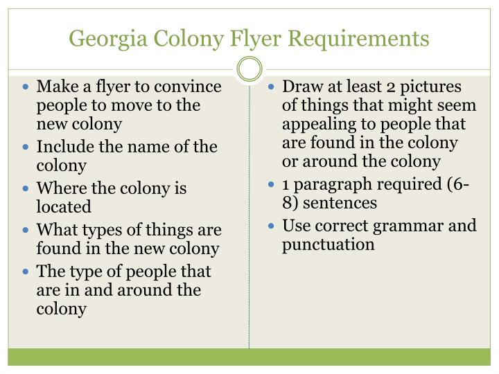 Georgia Colony Flyer Requirements