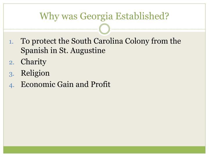 Why was Georgia Established?