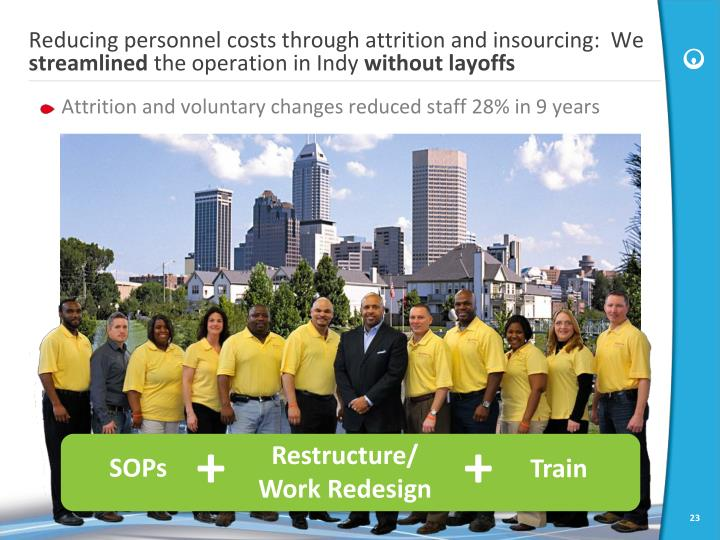 Reducing personnel costs through attrition and insourcing:  We