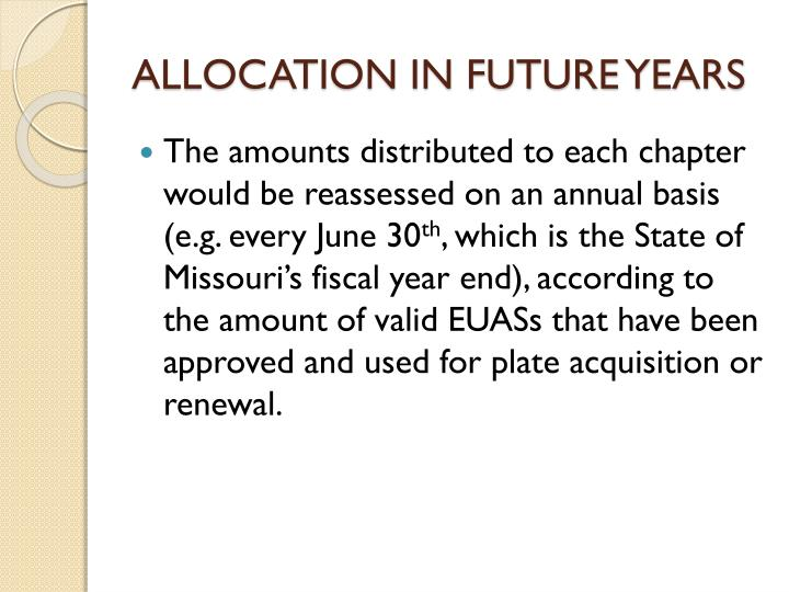 ALLOCATION IN FUTURE YEARS