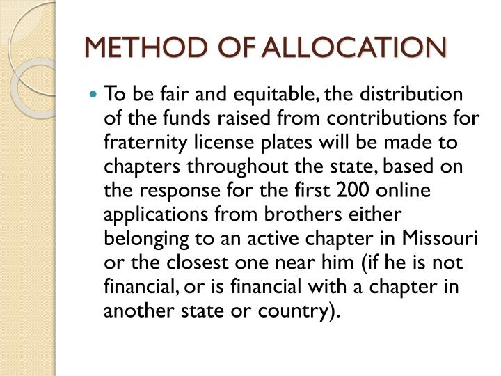 METHOD OF ALLOCATION
