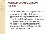 method of application cont d2