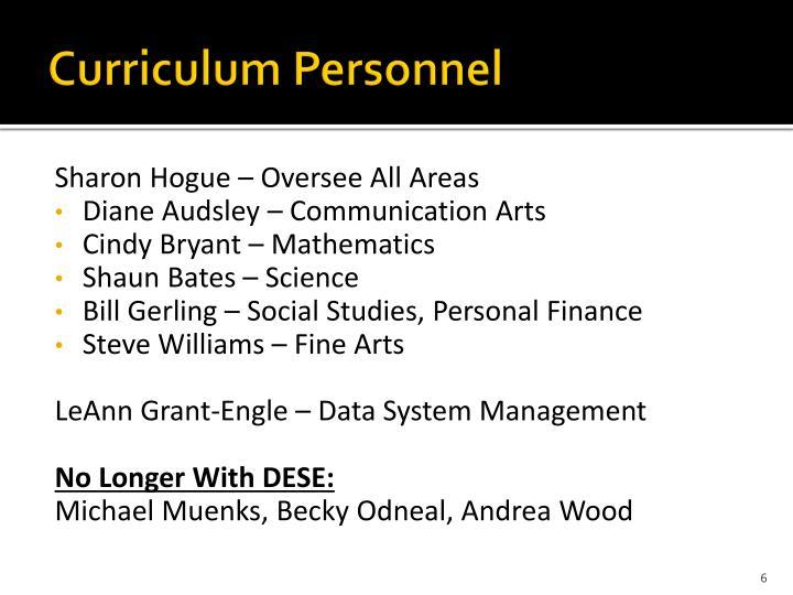 Curriculum Personnel