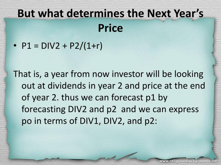 But what determines the Next Year's Price
