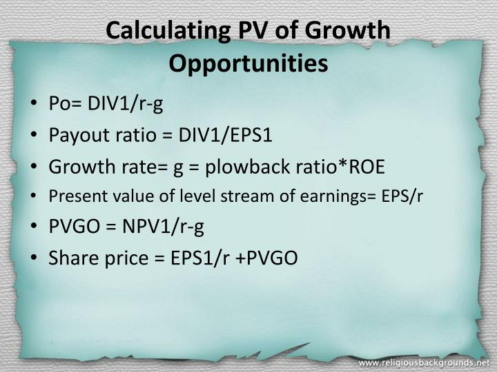 Calculating PV of Growth Opportunities