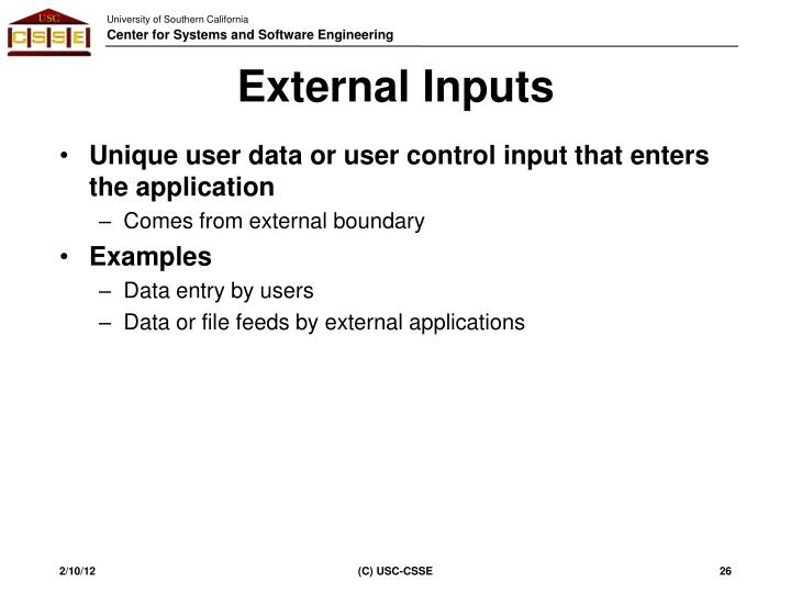 External Inputs