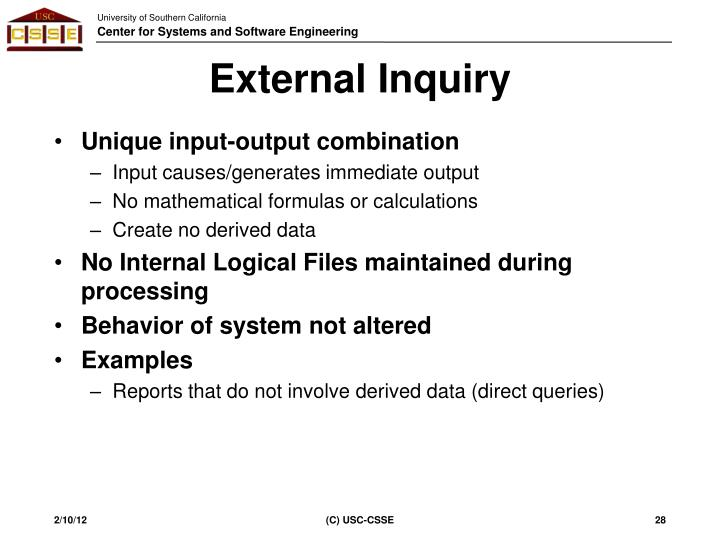 External Inquiry