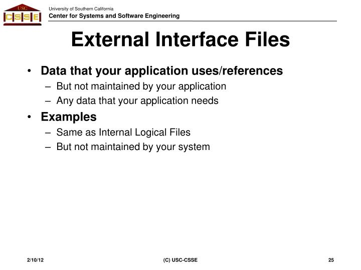 External Interface Files