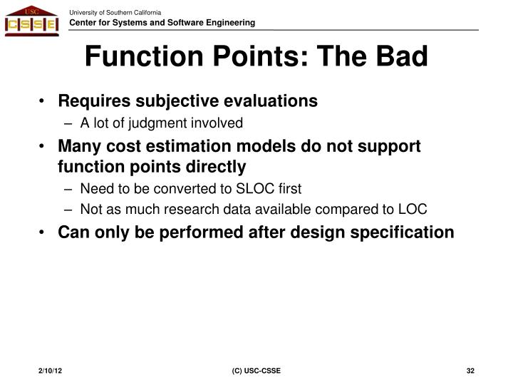 Function Points: The Bad