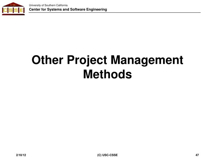 Other Project Management Methods