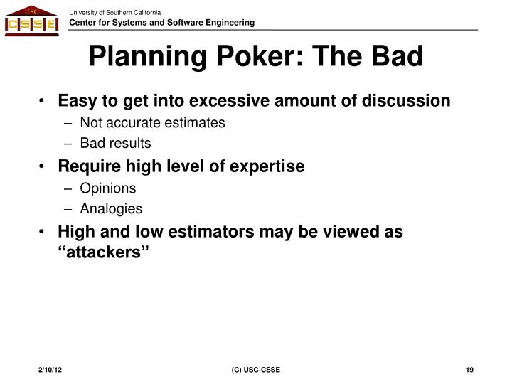Planning Poker: The Bad