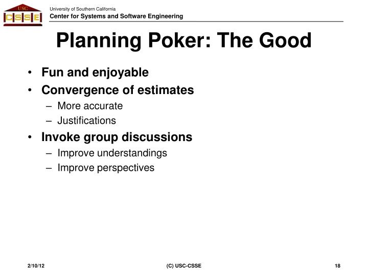 Planning Poker: The Good