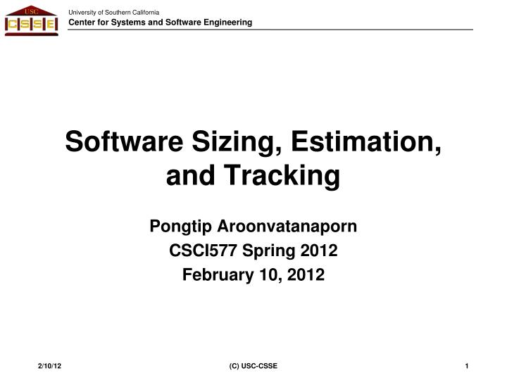 Software sizing estimation and tracking