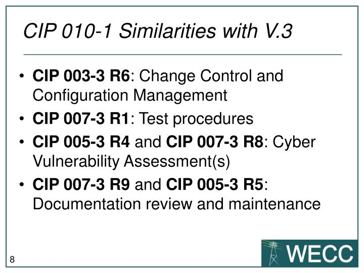 CIP 010-1 Similarities with V.3