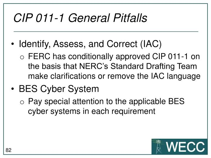 CIP 011-1 General Pitfalls