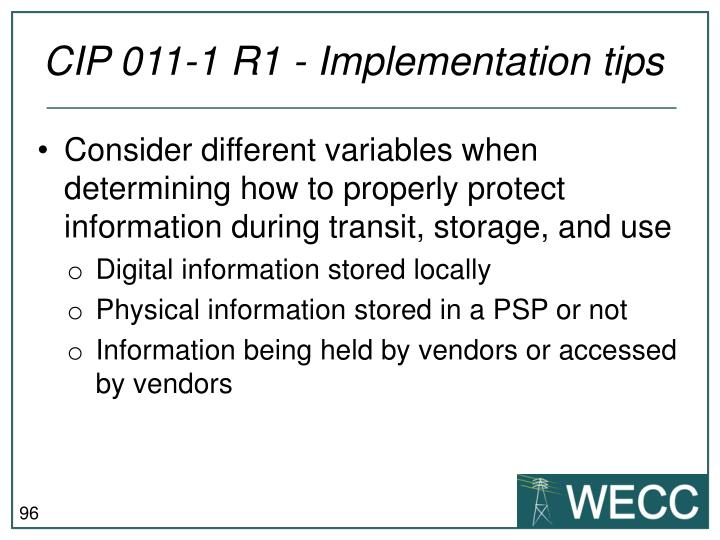 CIP 011-1 R1 - Implementation tips