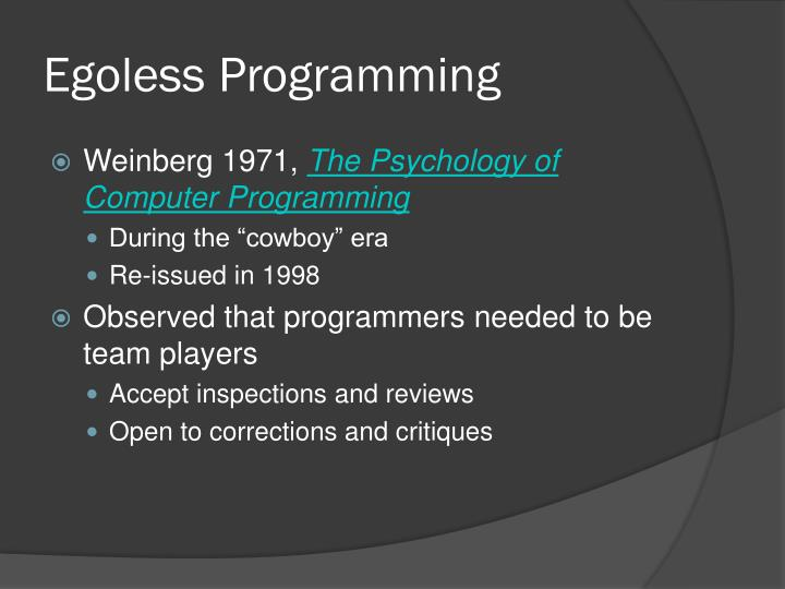 Egoless Programming