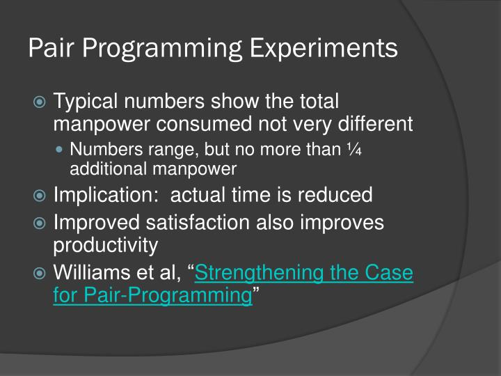 Pair Programming Experiments