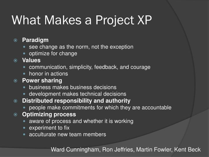What Makes a Project XP